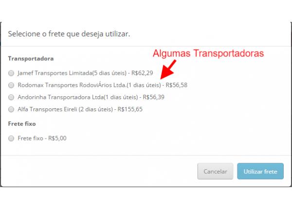 Cotação de Frete CargoBR Premium - Diversas Trasportadoras para Opencart